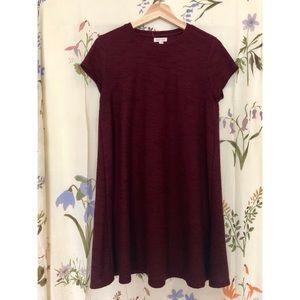 UO Burgundy Ribbed T-shirt Dress